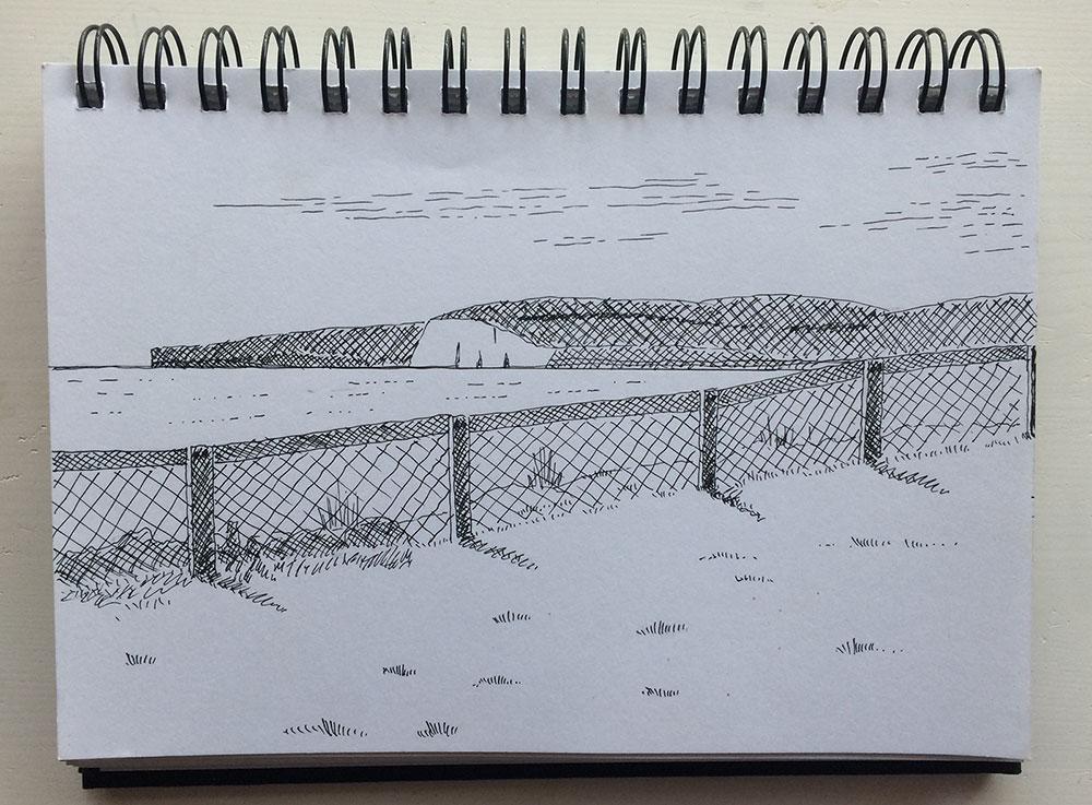 pen sketch of old harry rocks